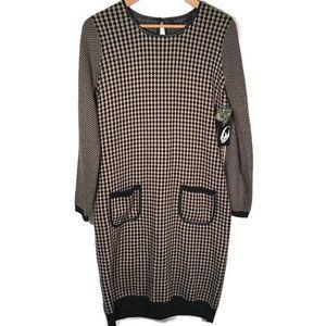NWT Nine West sweater dress leather trim